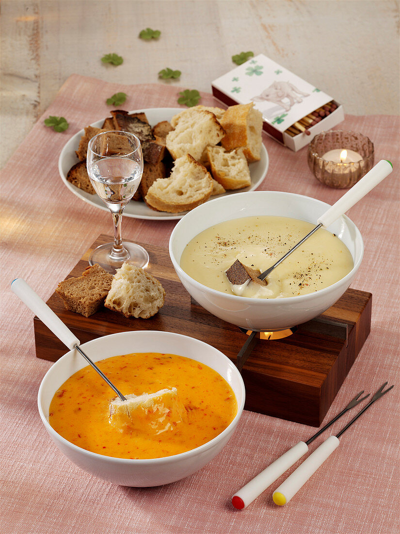Two types of cheese fondue