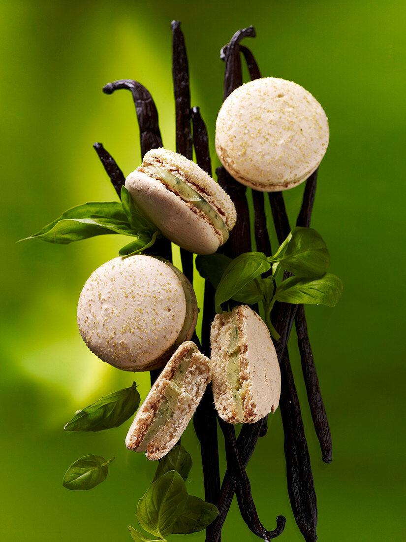 Macarons with basil and vanilla