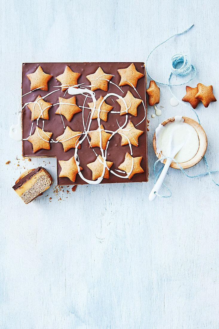 Gingerbread Choc-Caramel Slice
