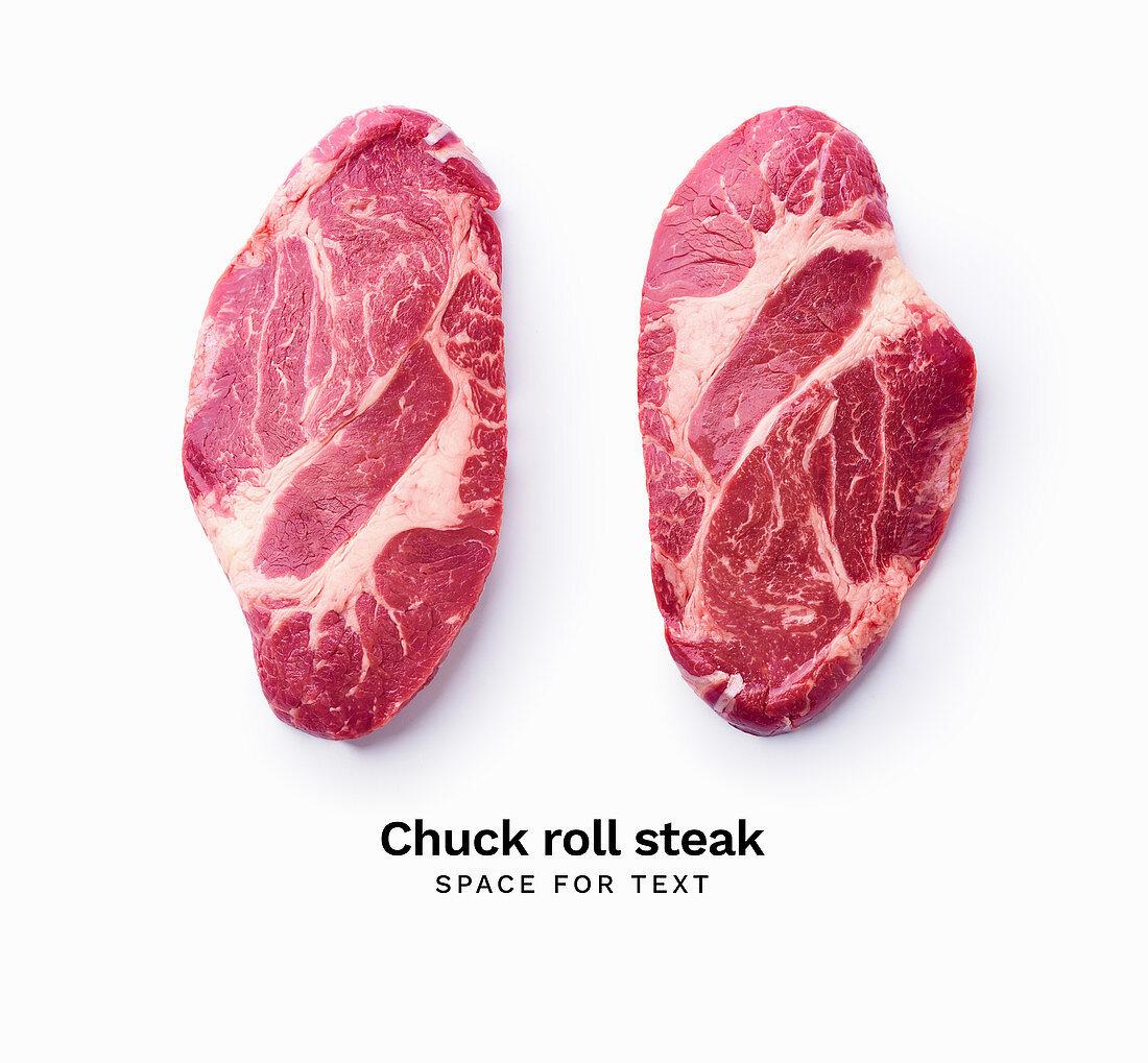 Zwei Black Angus Chuck Roll Steaks