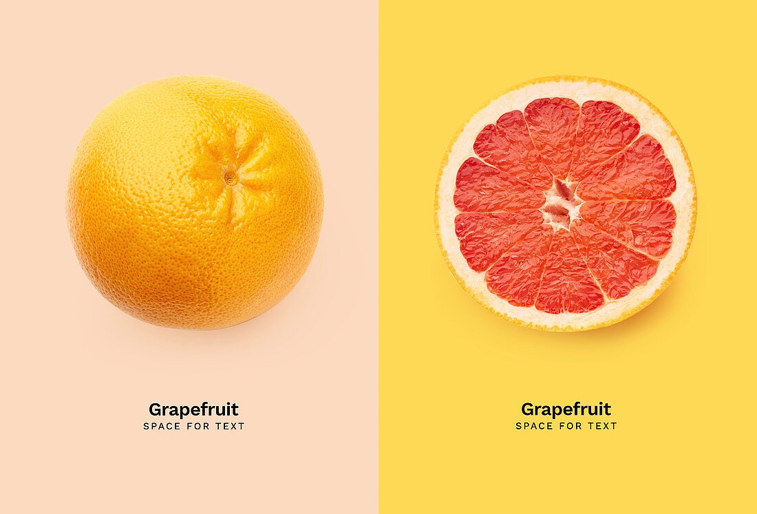 Two fresh grapefruits isolated on colorful background