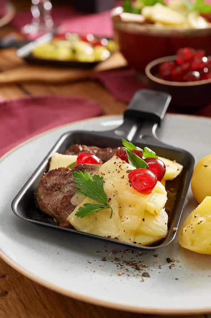 Hawaiian steak in a pan