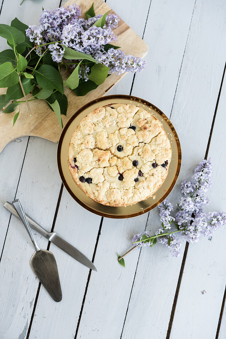 Organic blueberry crumble cake on a golden cake stand