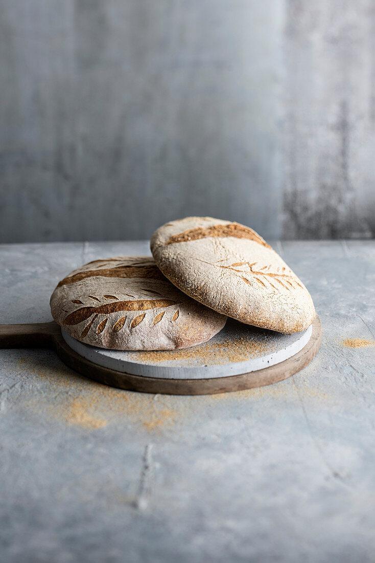 Two whole grain breads