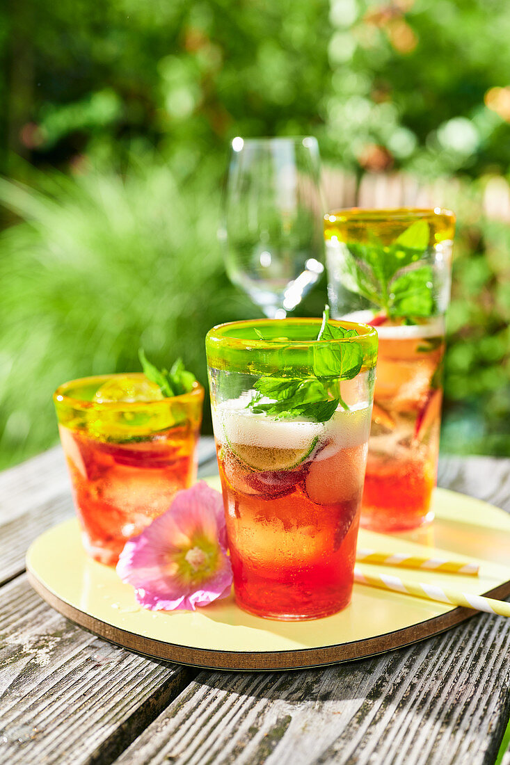 Peach and kombucha drink with mint