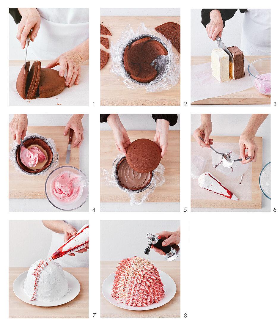 Preparing a Baked Alaska (ice cream cake)