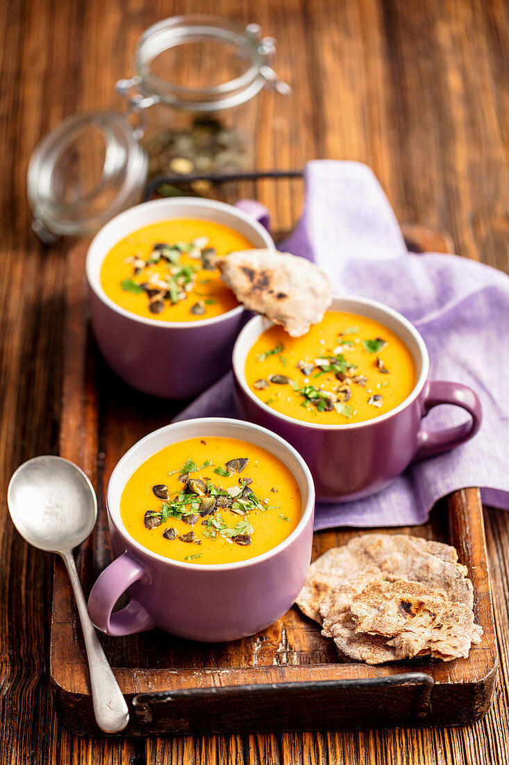 Sweet potatoes and lentil cream soup