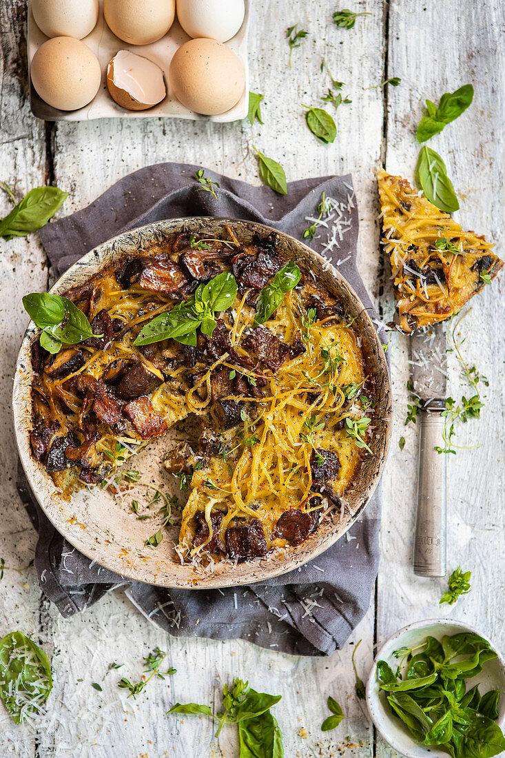 Spaghetti frittata with mushrooms