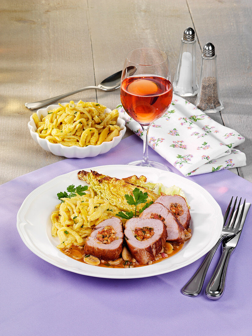 Stuffed pork fillet with spaetzle and roasted cabbage