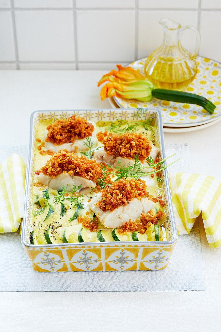 Fischfilet auf Zucchinigratin
