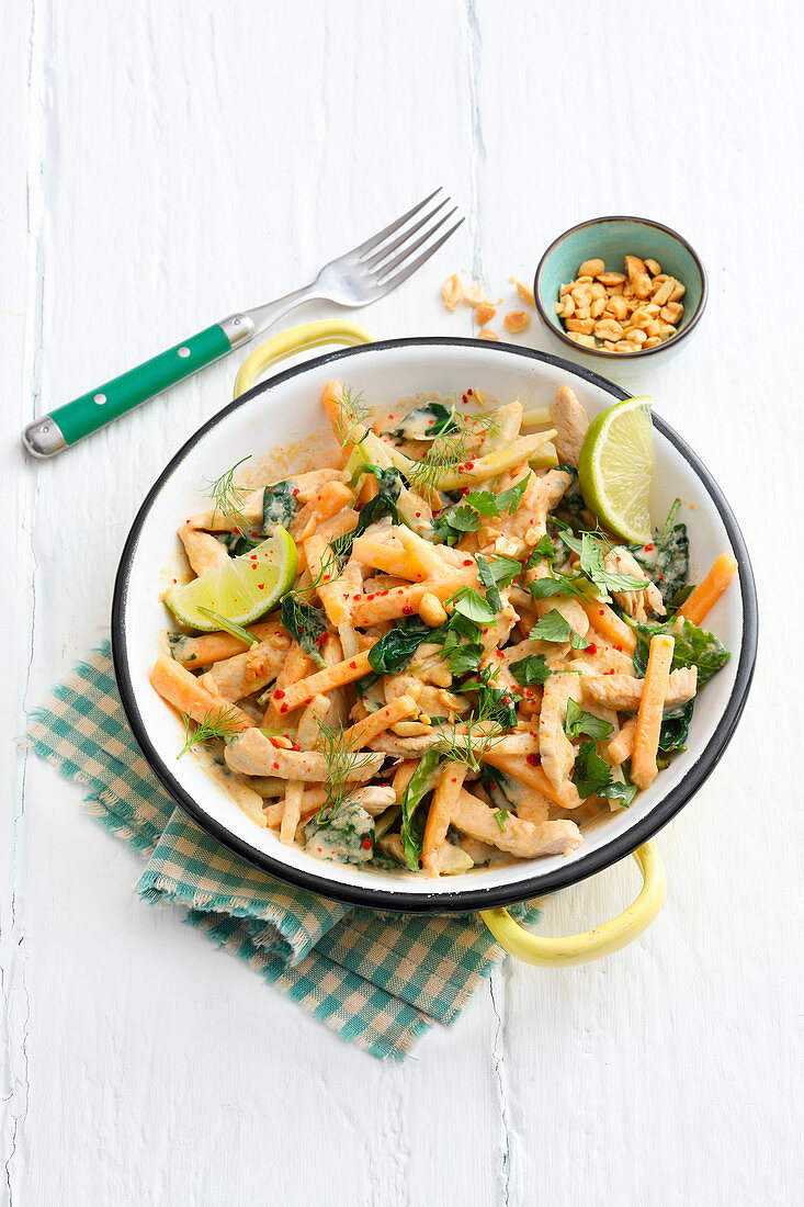 Turkey and melon bowl with herbs