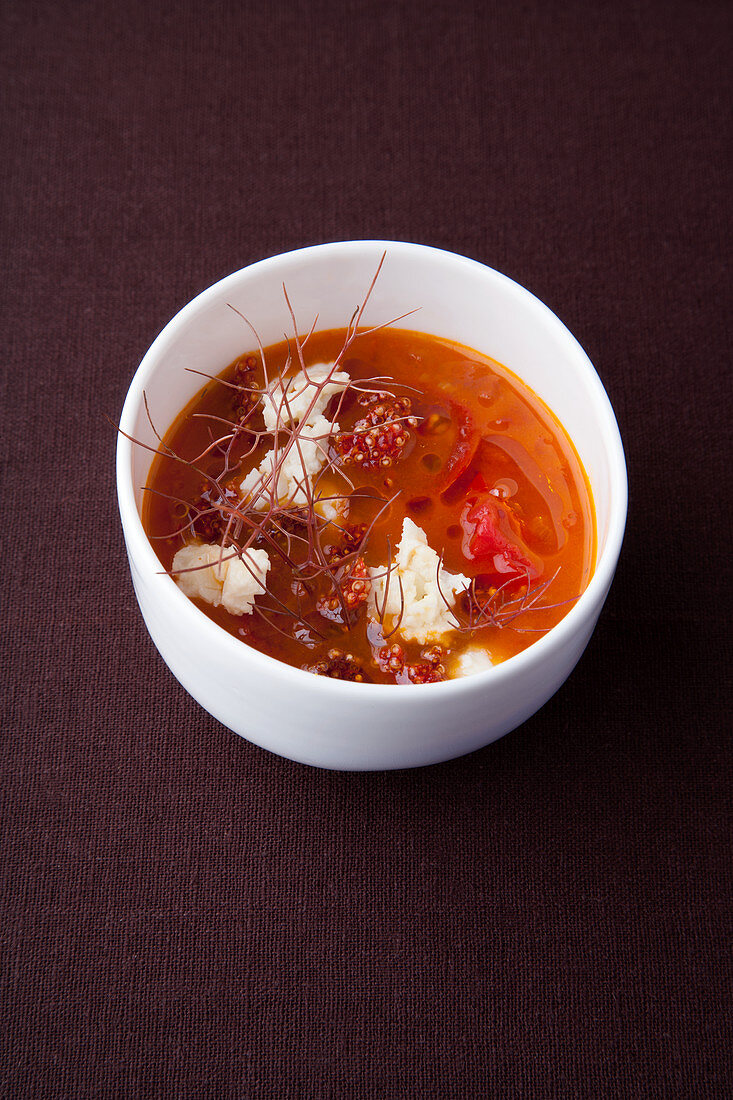 Tomato and amaranth soup with sheep's cheese and bronze fennel