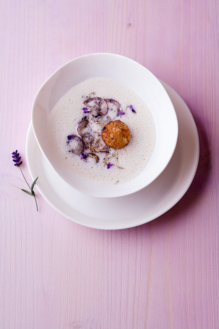 White bean soup with lavender gremolata and a lamb burger