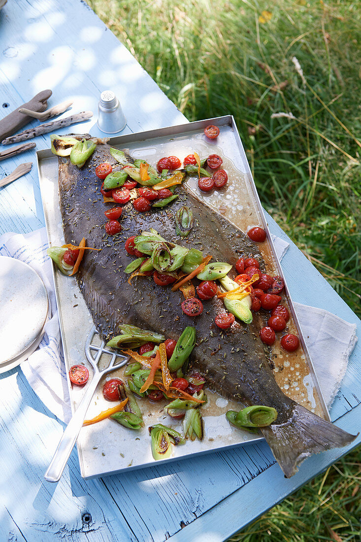 Oven roast halibut with hot leeks in vodka