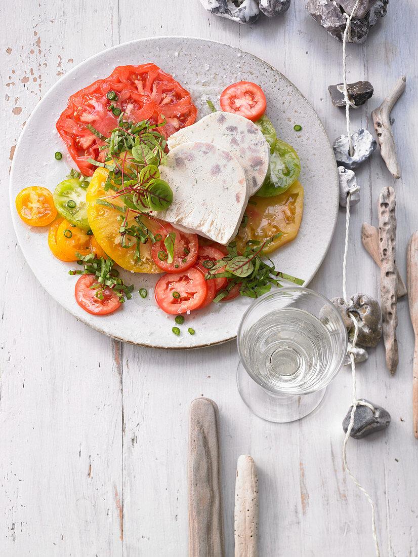 Herring parfait on tomato salad