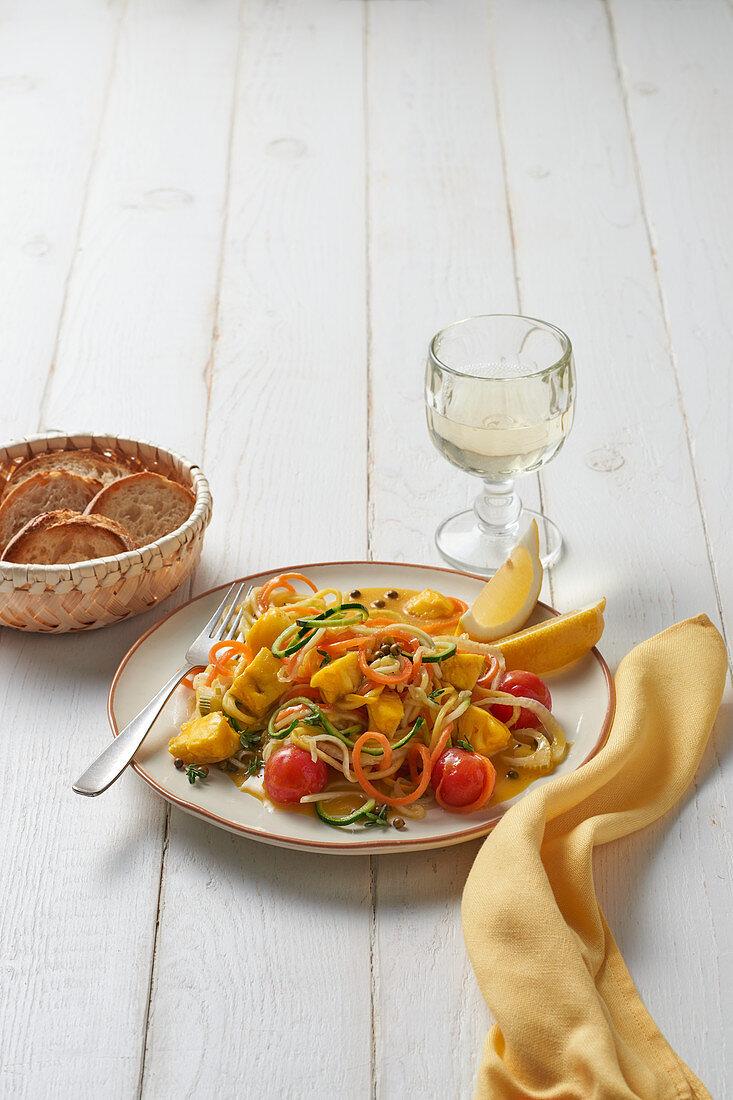 Linguini mit Kabeljau