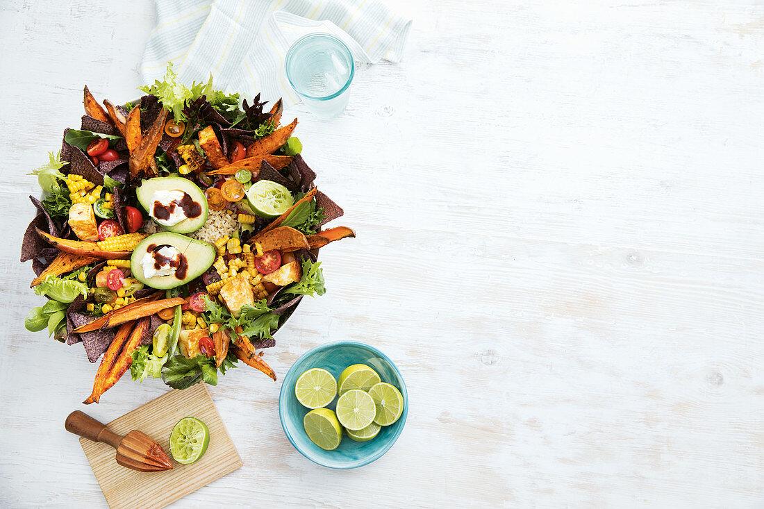 Vegetarian Mexican haloumi salad