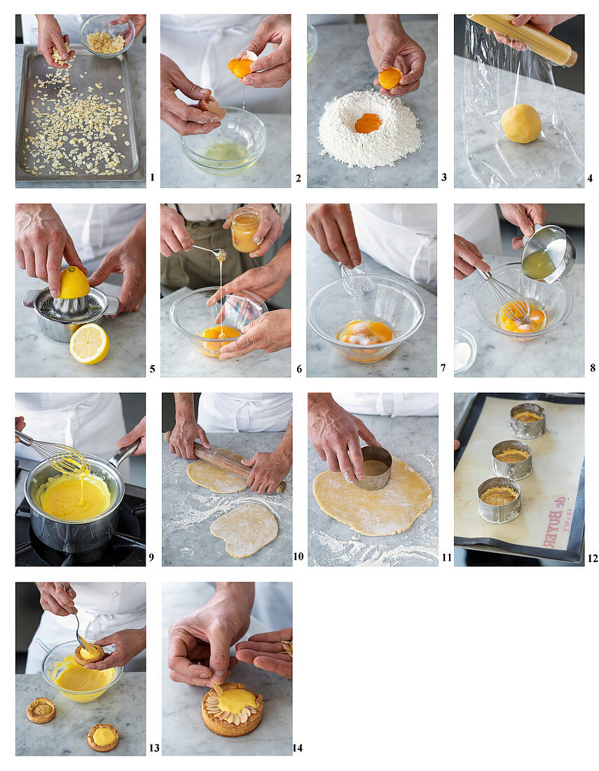How to bake a lemon curd tart with toasted almonds and orange blossom honey