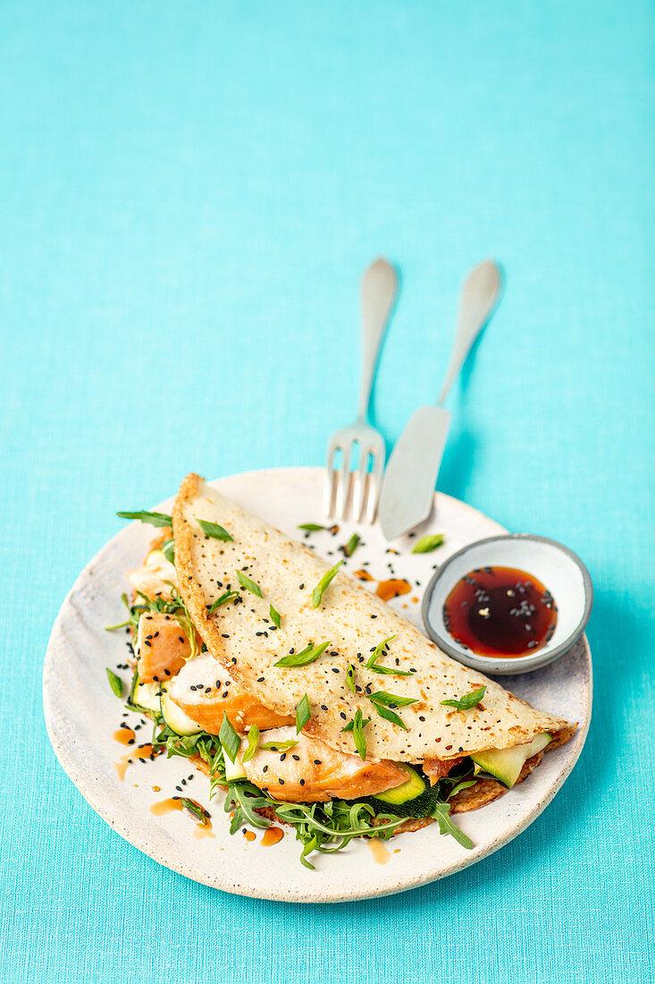 Rice pancake with salmon teriyaki