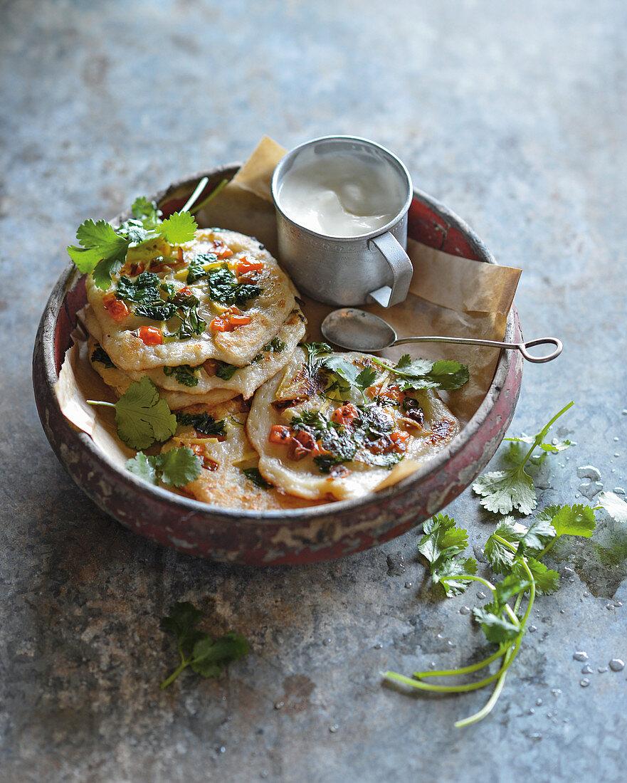 Bread uttapam (Indian pizza)