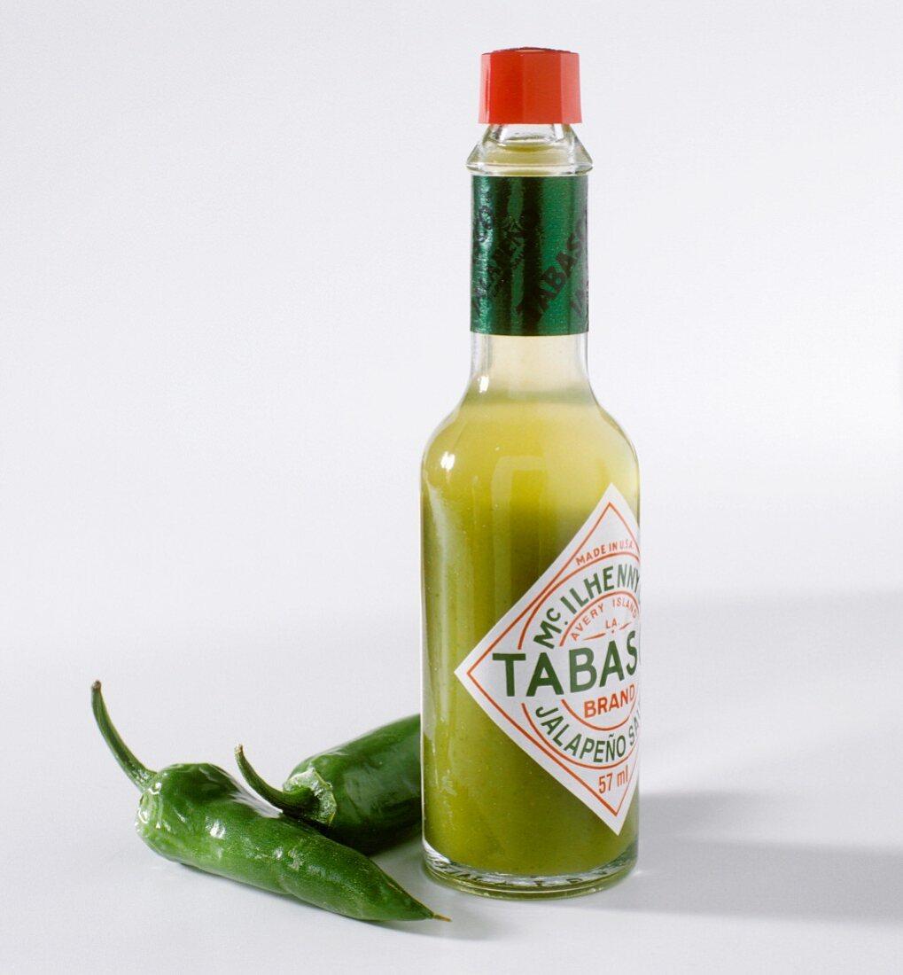A bottle of green tabasco sauce
