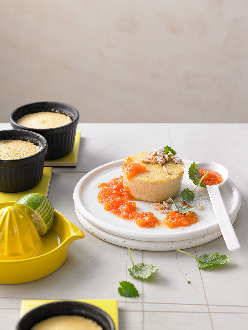 Banana flan with papaya compote