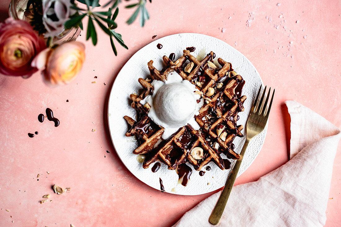 Gluten free waffles with salted tahini hot fudge sauce and ice cream