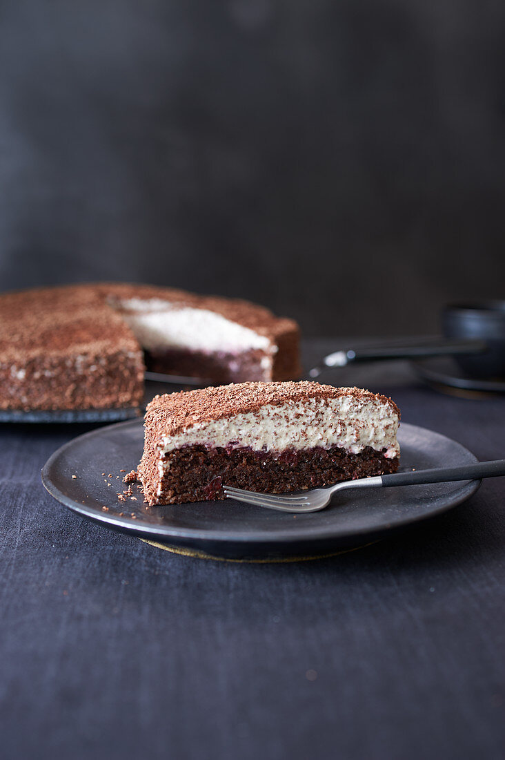Hazelnut and lingonberries cake, sliced