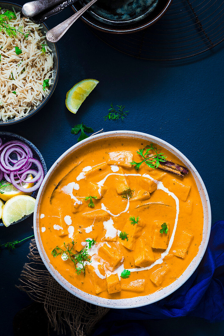Paneer Curry served with Cumin Rice and salad