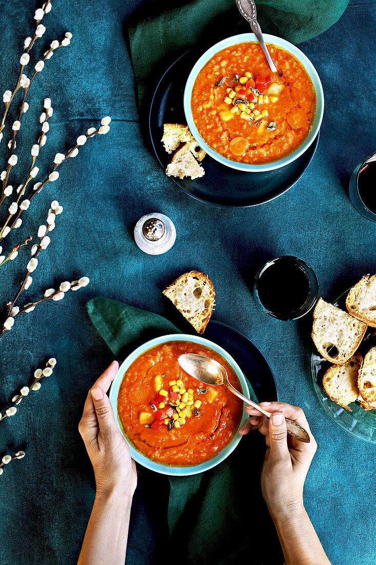 Zesty red lentil tomato soup