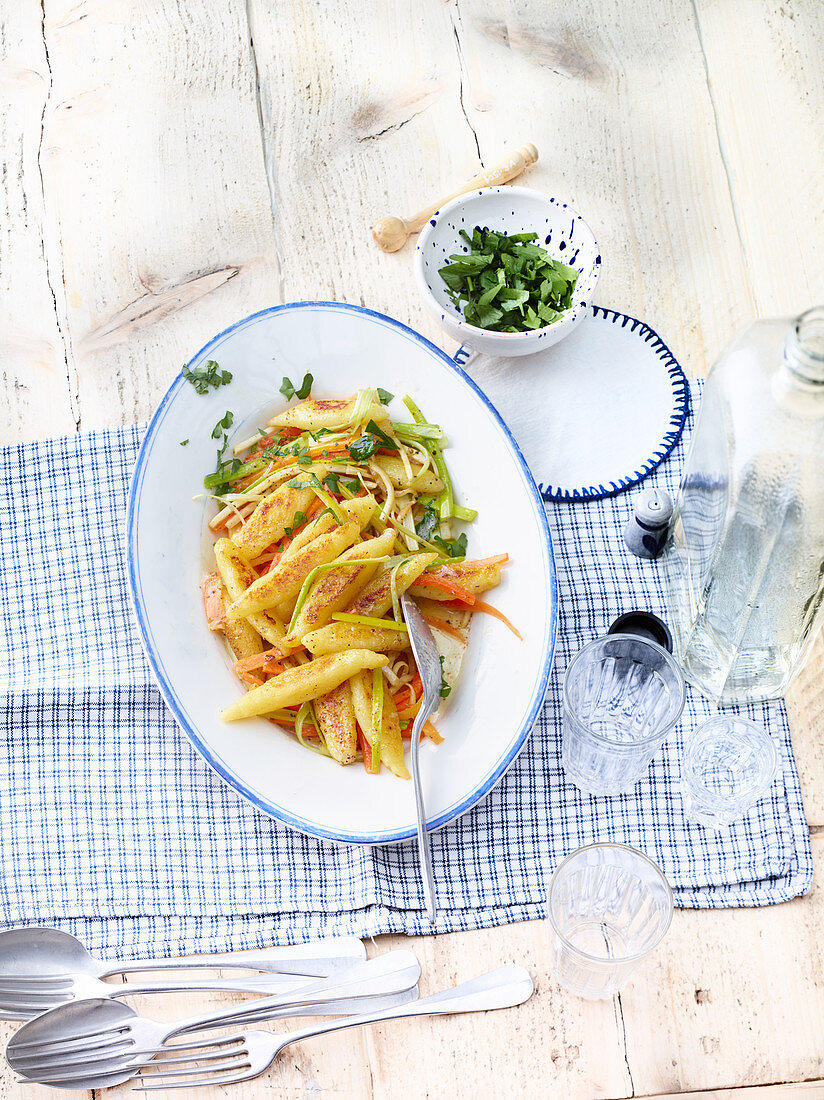 Schupfnudeln with julienne vegetables