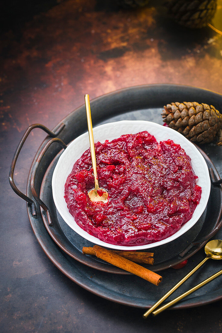 Wintry cranberry sauce in a small bowl