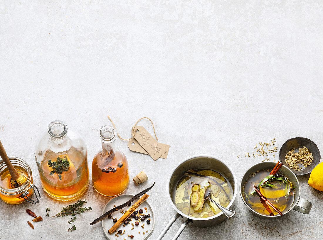 Spiced vinegar (honey, juniper) and spiced oils (ginger and garlic, lemon and fennel)