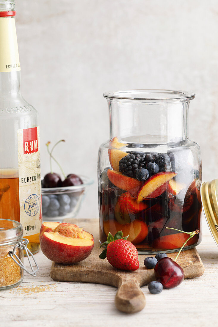 Homemade rum punch with fruit