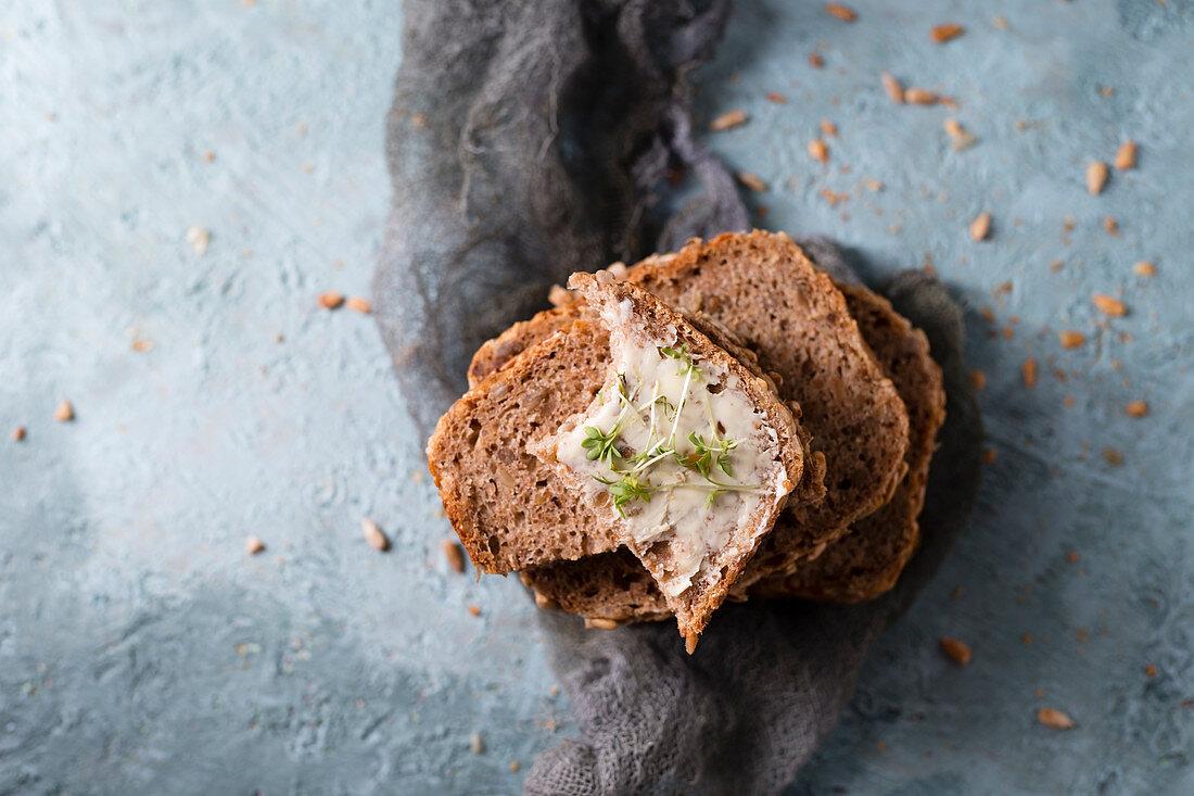 Sliced homemade spelt sunflower seed bread