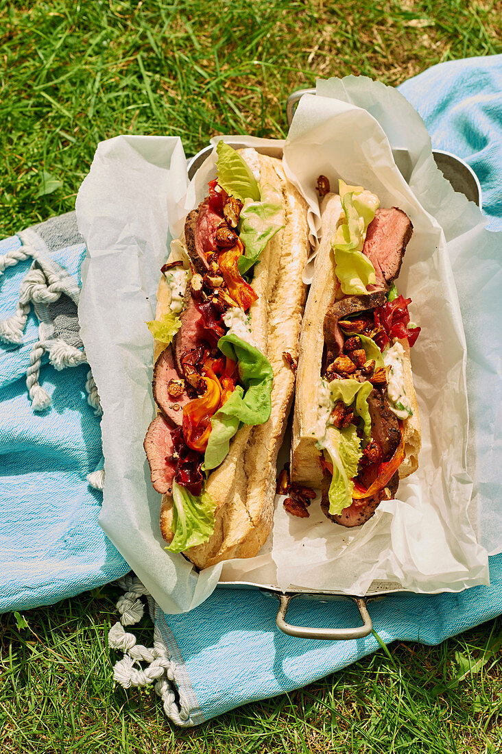 Sandwich with roast beef for a picnic