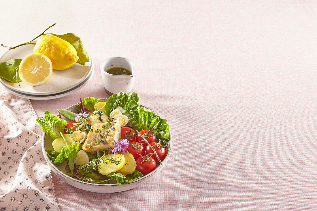 Summer salad with pike perch