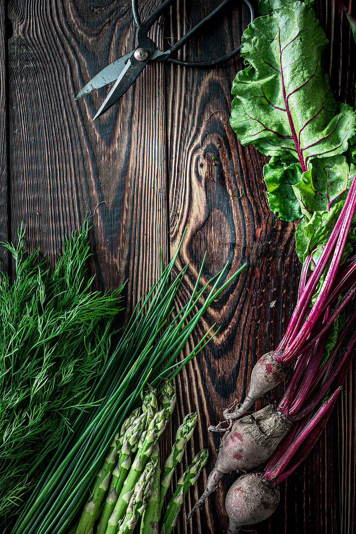 Herbs dill beetroot chive and asparagus