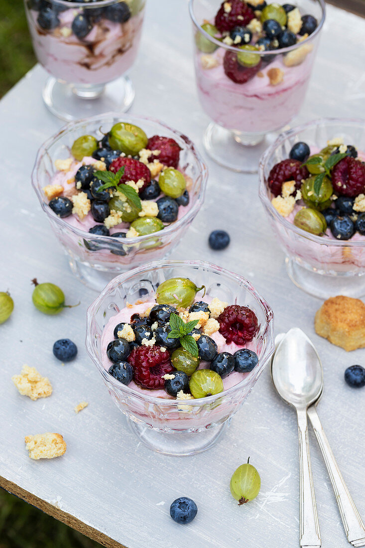 Raspberry mousse with mascarpone, served with summer fruits