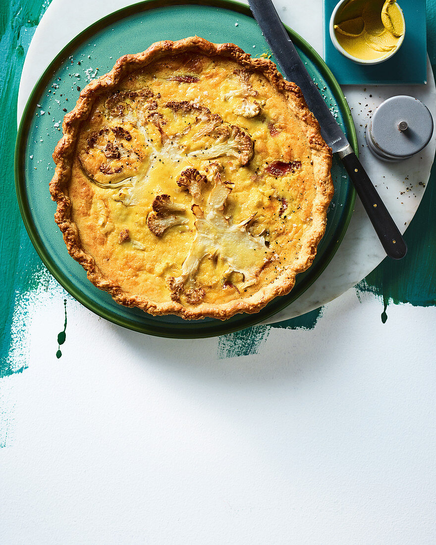 Cauliflower, English mustard, cheddar and ham tart