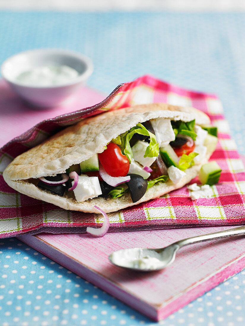 Greek salad pitta