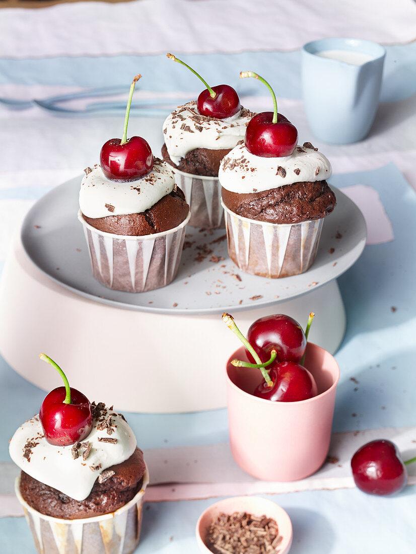 Dark chocolate muffins with cherries