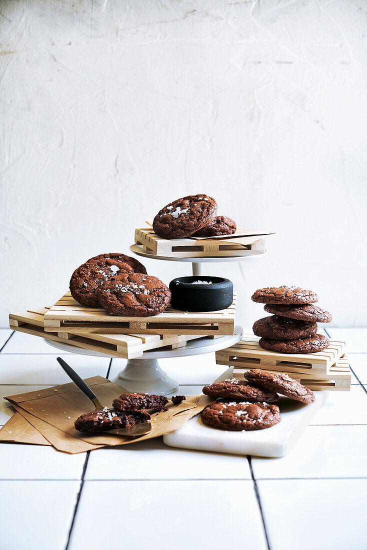 Buckwheat chocolate cookies with salt flakes