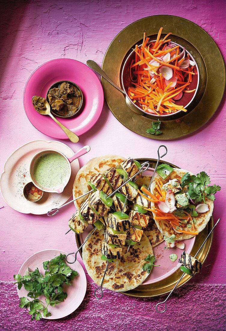 Vegetable and paneer shish kebab, roti and carrot salad