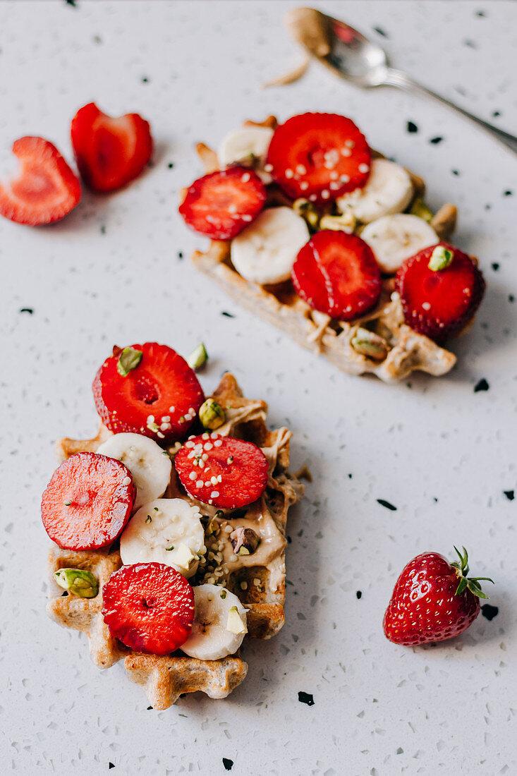 Buckwheat waffles with bananas and strawberries