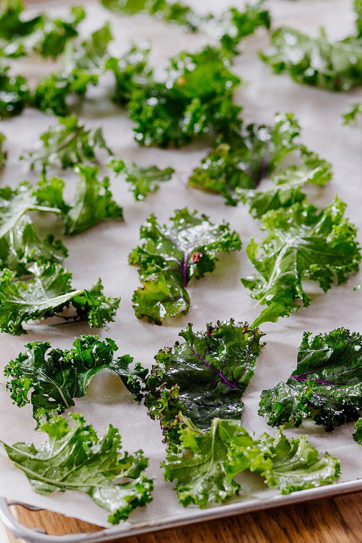 Kale chips before baking