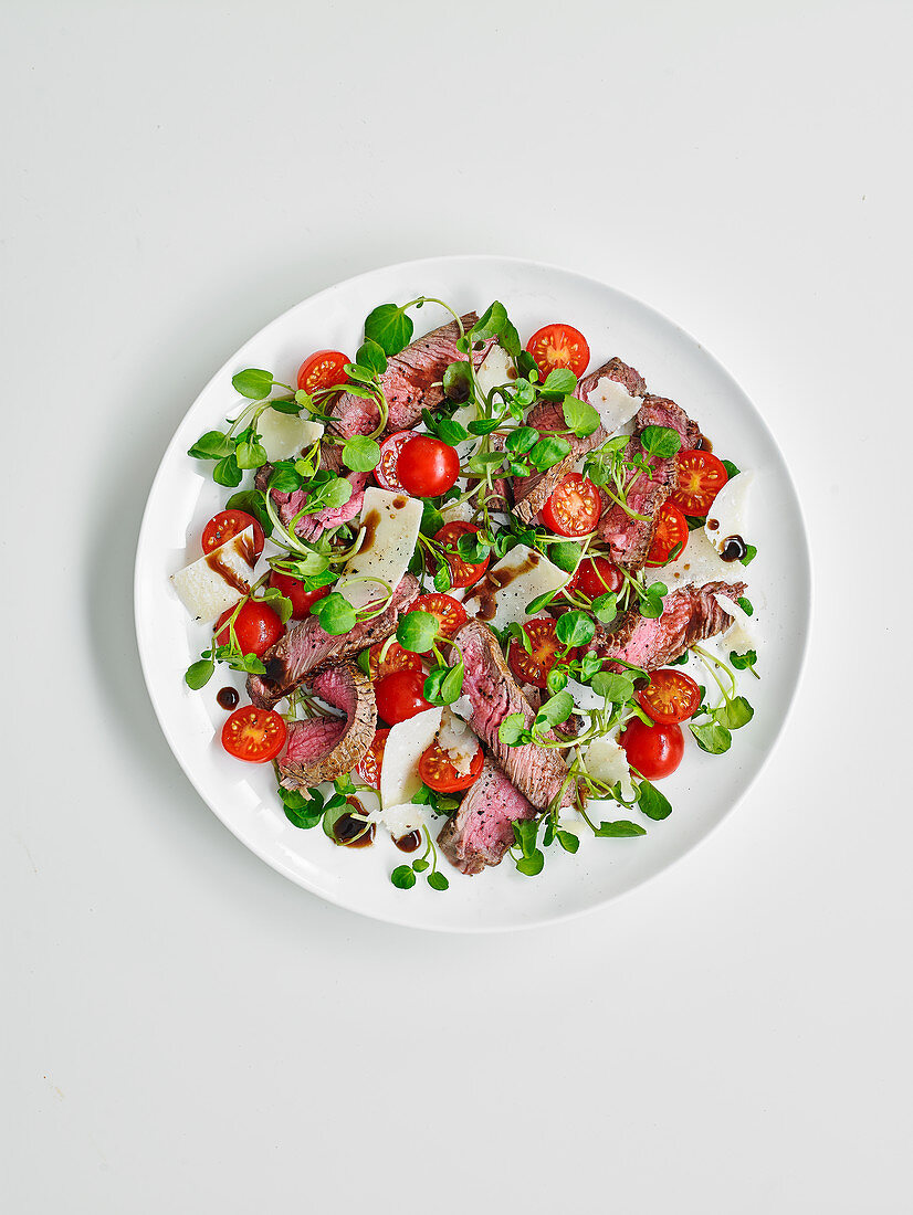 Tagliata and watercress salad