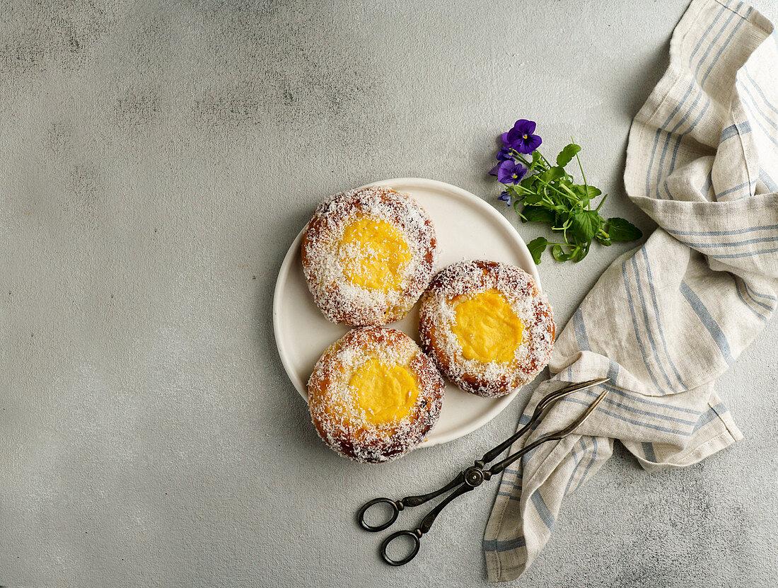 Norwegian sweet bun skoleboller (traditional scandinavian pastry)