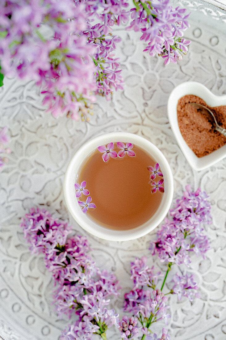 Lilac tea in a tea bowl