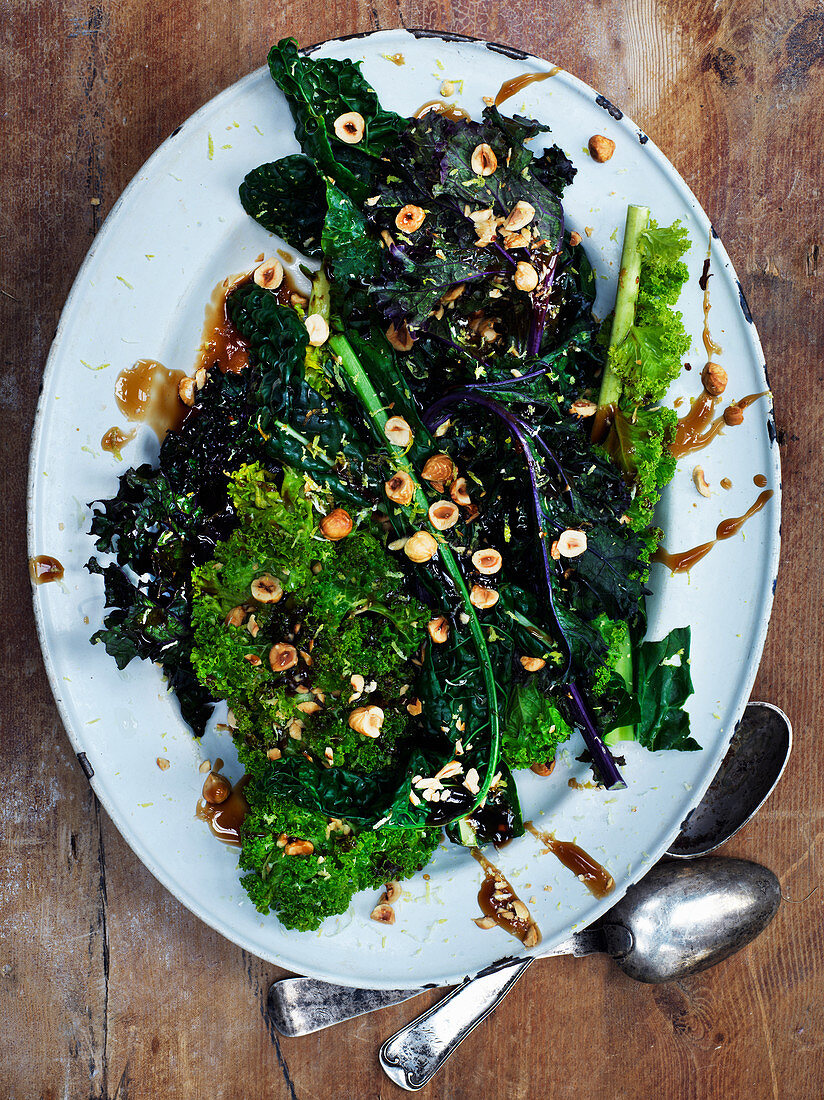 Winter cabbage with hazelnuts and mustard sauce